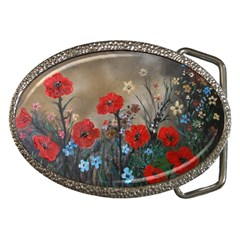 Poppy Garden Belt Buckle (Oval)