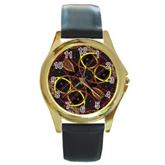 Luxury Futuristic Ornament Round Leather Watch (Gold Rim)