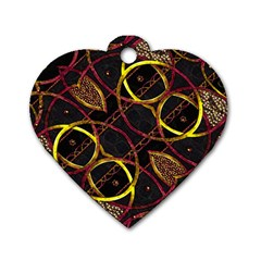 Luxury Futuristic Ornament Dog Tag Heart (Two Sided)