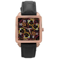 Luxury Futuristic Ornament Rose Gold Leather Watch
