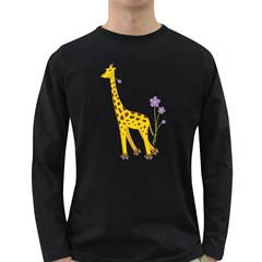 Cute Roller Skating Cartoon Giraffe Men s Long Sleeve T Shirt (dark Colored)