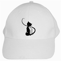 White And Black Cats In Love White Baseball Cap