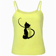 White And Black Cats In Love Yellow Spaghetti Tank