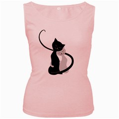 White And Black Cats In Love Women s Tank Top (pink)
