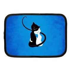 Blue White And Black Cats In Love Netbook Sleeve (medium)