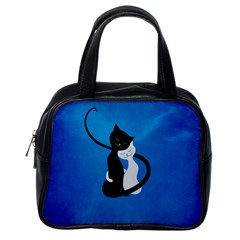Blue White And Black Cats In Love Classic Handbag (one Side)