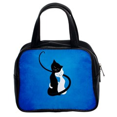 Blue White And Black Cats In Love Classic Handbag (Two Sides)