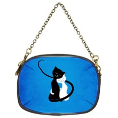 Blue White And Black Cats In Love Chain Purse (Two Sided)