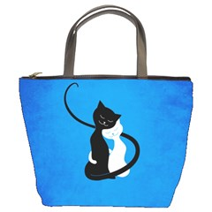 Blue White And Black Cats In Love Bucket Handbag