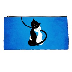 Blue White And Black Cats In Love Pencil Case