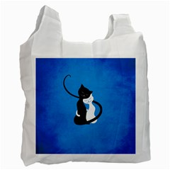 Blue White And Black Cats In Love White Reusable Bag (one Side)