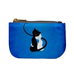Blue White And Black Cats In Love Coin Change Purse