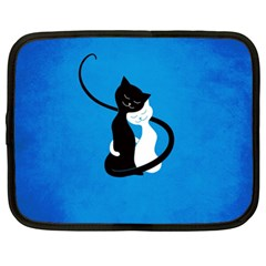 Blue White And Black Cats In Love Netbook Sleeve (xl)