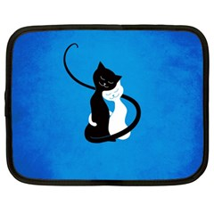Blue White And Black Cats In Love Netbook Sleeve (xxl)