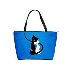 Blue White And Black Cats In Love Large Shoulder Bag