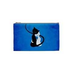 Blue White And Black Cats In Love Cosmetic Bag (Small)