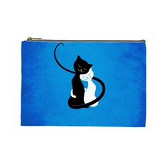 Blue White And Black Cats In Love Cosmetic Bag (Large)