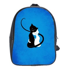 Blue White And Black Cats In Love School Bag (large)