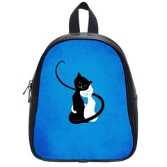 Blue White And Black Cats In Love School Bag (small)