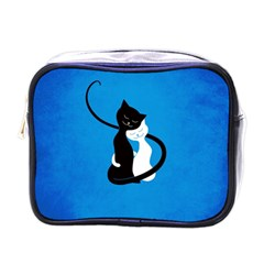 Blue White And Black Cats In Love Mini Travel Toiletry Bag (One Side)