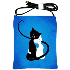 Blue White And Black Cats In Love Shoulder Sling Bag
