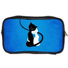 Blue White And Black Cats In Love Travel Toiletry Bag (two Sides)