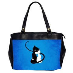 Blue White And Black Cats In Love Oversize Office Handbag (Two Sides)