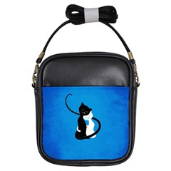 Blue White And Black Cats In Love Girl s Sling Bag