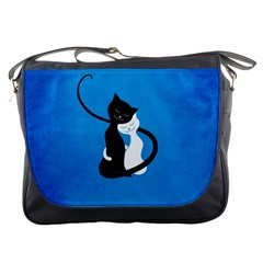 Blue White And Black Cats In Love Messenger Bag