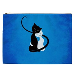 Blue White And Black Cats In Love Cosmetic Bag (xxl)