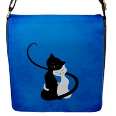 Blue White And Black Cats In Love Flap Closure Messenger Bag (small)