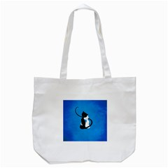 Blue White And Black Cats In Love Tote Bag (White)
