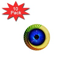 Eerie Psychedelic Eye 1  Mini Button (10 Pack)