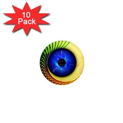 Eerie Psychedelic Eye 1  Mini Button Magnet (10 Pack)