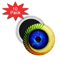 Eerie Psychedelic Eye 1 75  Button Magnet (10 Pack)