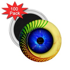 Eerie Psychedelic Eye 2.25  Button Magnet (100 pack)