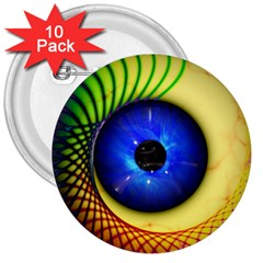 Eerie Psychedelic Eye 3  Button (10 Pack)