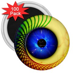 Eerie Psychedelic Eye 3  Button Magnet (100 pack)