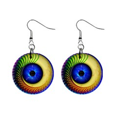 Eerie Psychedelic Eye Mini Button Earrings