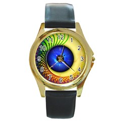 Eerie Psychedelic Eye Round Leather Watch (Gold Rim)