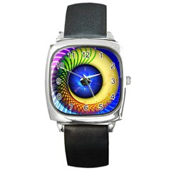 Eerie Psychedelic Eye Square Leather Watch