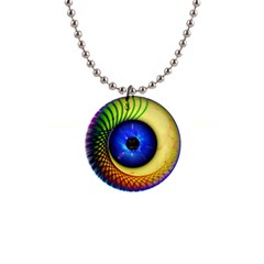 Eerie Psychedelic Eye Button Necklace