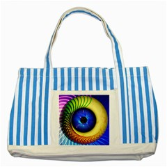 Eerie Psychedelic Eye Blue Striped Tote Bag