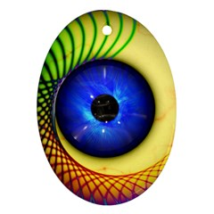 Eerie Psychedelic Eye Oval Ornament (Two Sides)