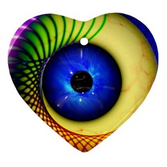Eerie Psychedelic Eye Heart Ornament (two Sides)