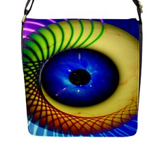 Eerie Psychedelic Eye Flap Closure Messenger Bag (Large)