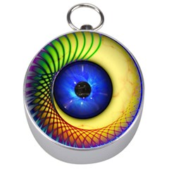 Eerie Psychedelic Eye Silver Compass