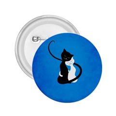 Blue White And Black Cats In Love 2.25  Button