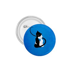 Blue White And Black Cats In Love 1 75  Button