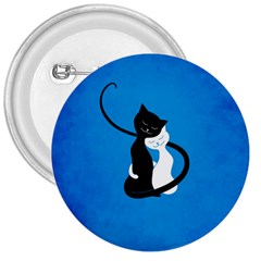 Blue White And Black Cats In Love 3  Button